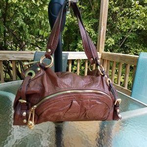 B. Makowsky Brown Leather Satchel Shoulder Bag